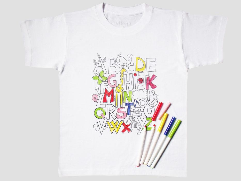 T Shirt Manica Corta Da Colorare Abc