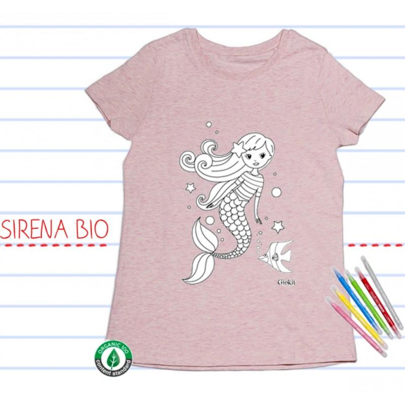 Conosciuto T-shirt BIO manica corta, da colorare: SIRENA – Babymama IE26