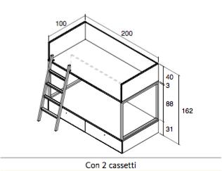 Misure Letto A Castello.Letto A Castello Vagon Con Due Cassetti